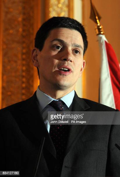 Foreign Secretary David Miliband at a joint press conference with US Secretary of State Condoleezza Rice in Lancaster House central London