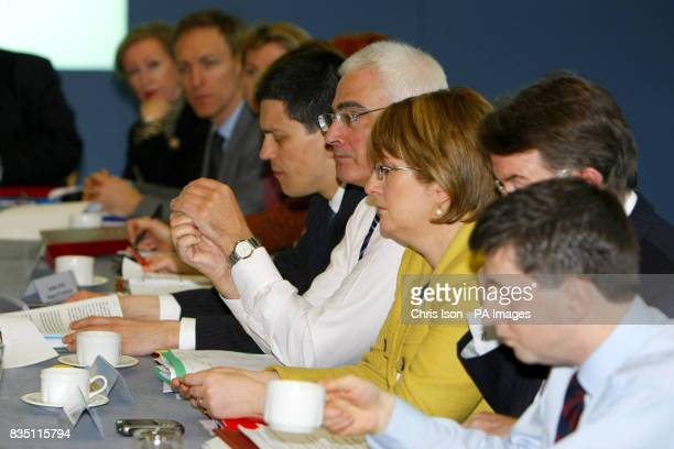 Foreign Secretary David Miliband Chancellor Alistair Darling and Home Secretary Jacqui Smith during a Cabinet meeting at City Terminal in...