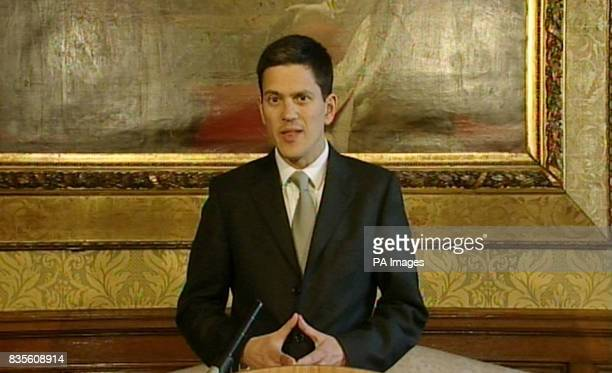 Foreign Secretary David Miliband making a statement in the Foreign Office central London about the remains of two bodies which have been passed to...