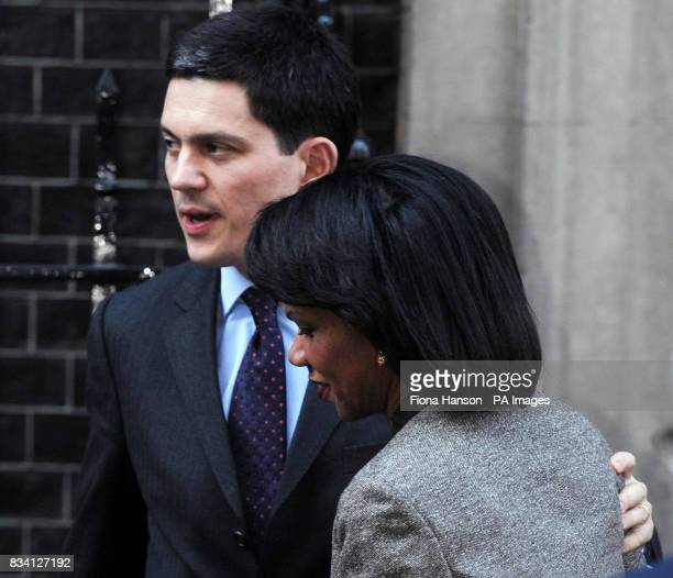 Foreign Secretary David Miliband says goodbye to US Secretary of State Condoleezza Rice after her 10 Downing Street meeting with Prime Minister...