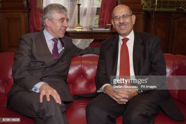 Foreign Secretary Jack Straw meets with Dr Mohamed Elbaradei Director General of The International Atomic Energy Agency at the Foreign Office in...