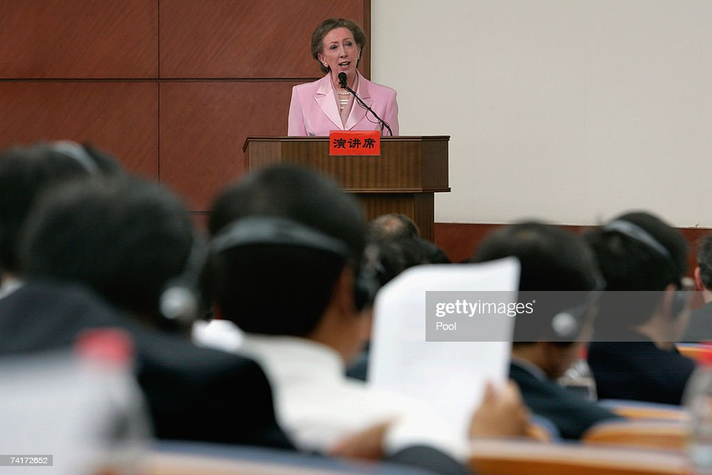 Foreign Secretary Margaret Beckett speaks at the China Central Party School on May 17, 2007 in Beijing, China. The British foreign secretary is on an 8 day official visit to China, Hong Kong and Japan.