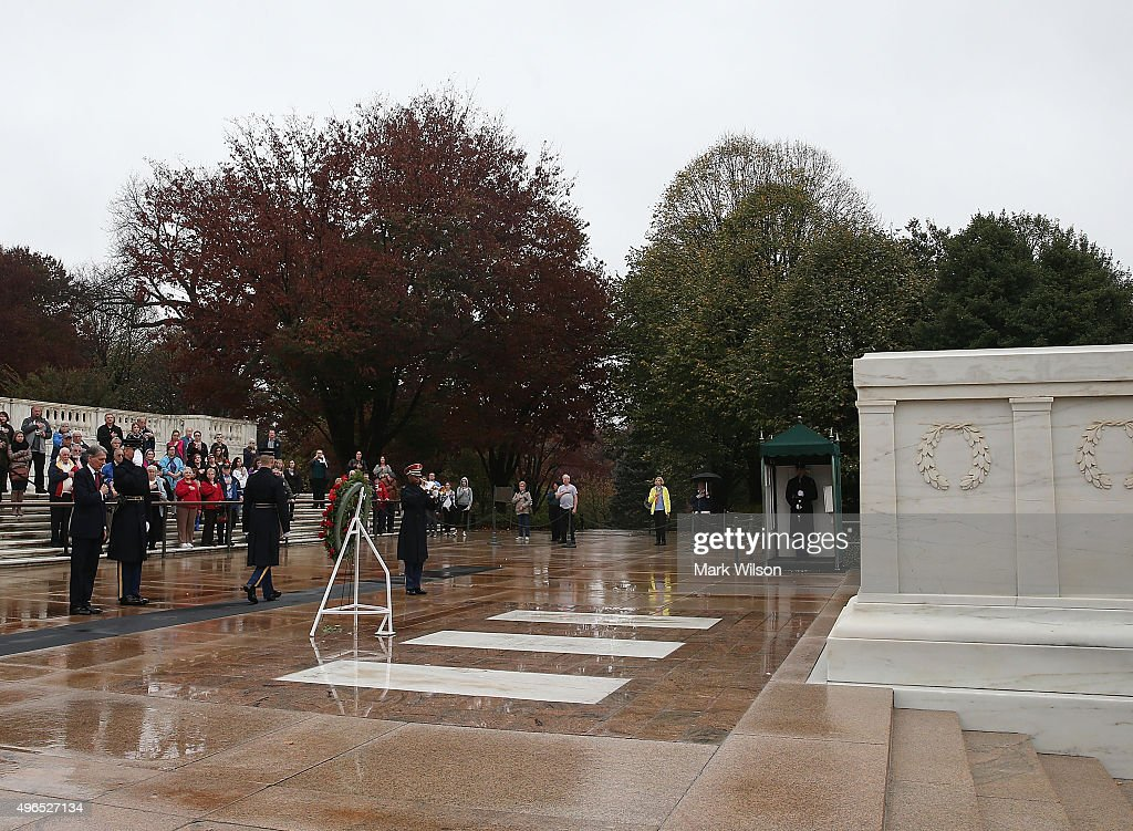 Foreign Secretary Philip Hammond participates in a wreathlaying at Tomb of the Unknown Soldier in Arlington Cemetery November 10 2015 in Arlington...