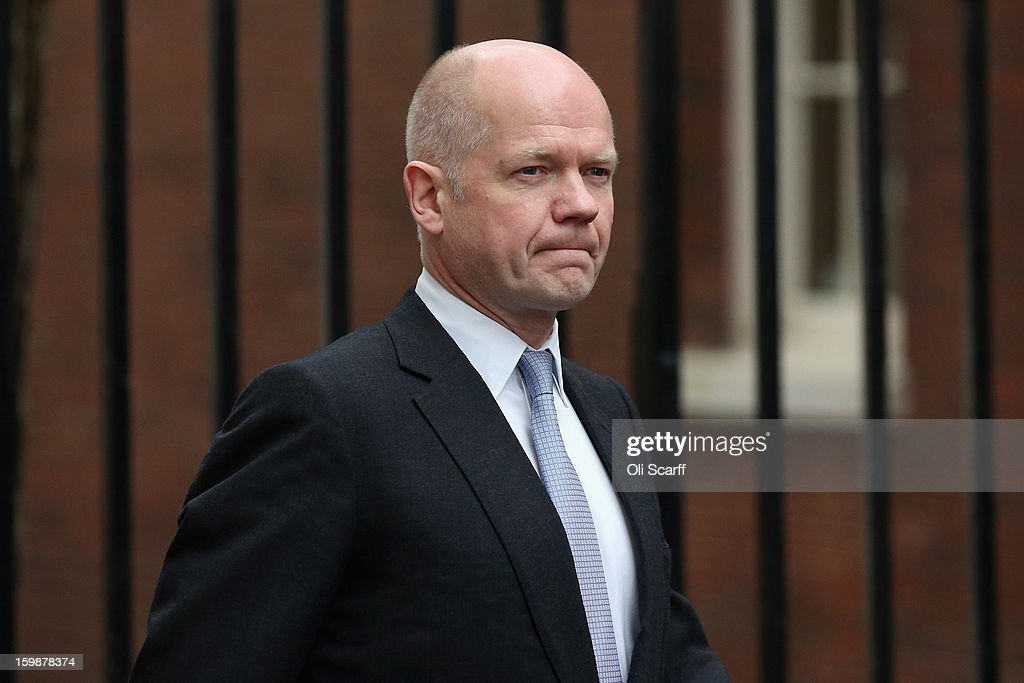 Foreign Secretary <a gi-track='captionPersonalityLinkClicked' href=/galleries/search?phrase=William+Hague&family=editorial&specificpeople=206295 ng-click='$event.stopPropagation()'>William Hague</a> arrives in Downing Street on January 22, 2013 in London, England. The government has announced a third round of redundancies of Army personnel. Up to 5,300 Ministry of Defence staff will lose their jobs as Army numbers are reduced from 102,000 to 82,000 by 2017.