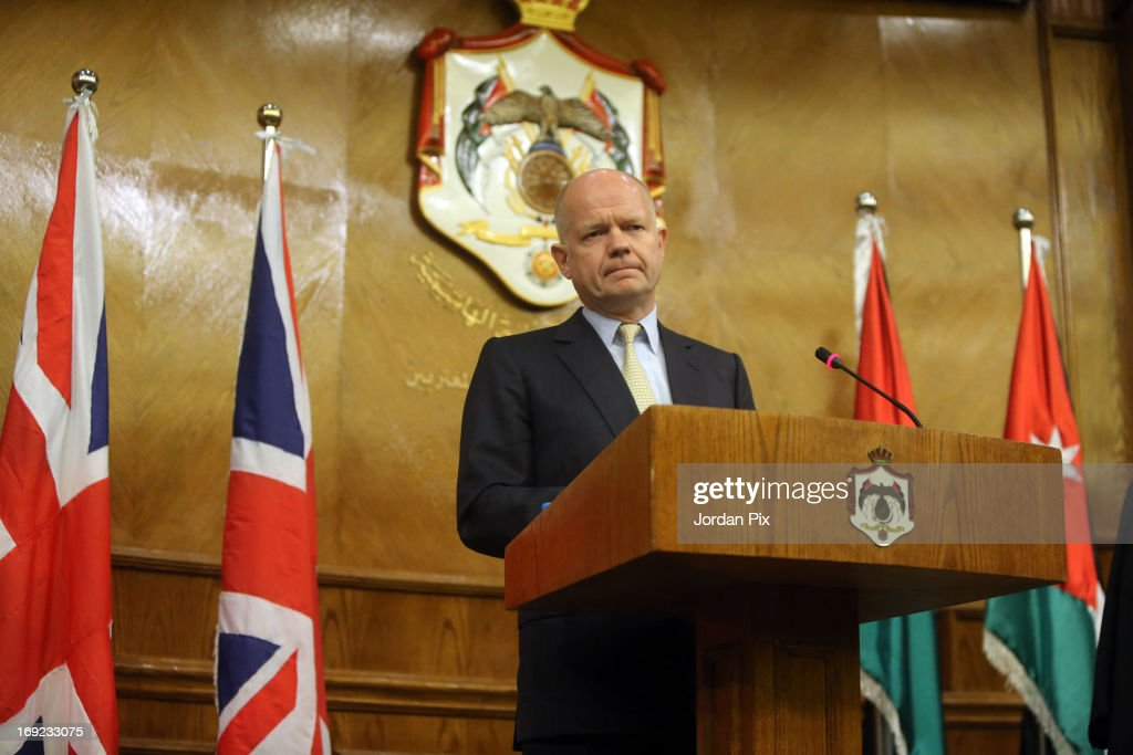 Foreign Secretary William Hague attends a press conference with his Jordanian counterpart Nasser Joudah on May 22, 2013 in Amman, Jordan. Hague is joining US Secretary of State John Kerry and other top diplomats from across Europe and the Middle East for a meeting of the the 'Friends of Syria' group in the hope of reaching an end to the conflict in Syria.
