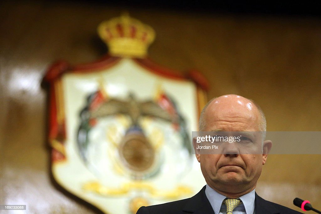 Foreign Secretary <a gi-track='captionPersonalityLinkClicked' href=/galleries/search?phrase=William+Hague&family=editorial&specificpeople=206295 ng-click='$event.stopPropagation()'>William Hague</a> attends a press conference with his Jordanian counterpart Nasser Joudah on May 22, 2013 in Amman, Jordan. Hague is joining US Secretary of State John Kerry and other top diplomats from across Europe and the Middle East for a meeting of the the 'Friends of Syria' group in the hope of reaching an end to the conflict in Syria.