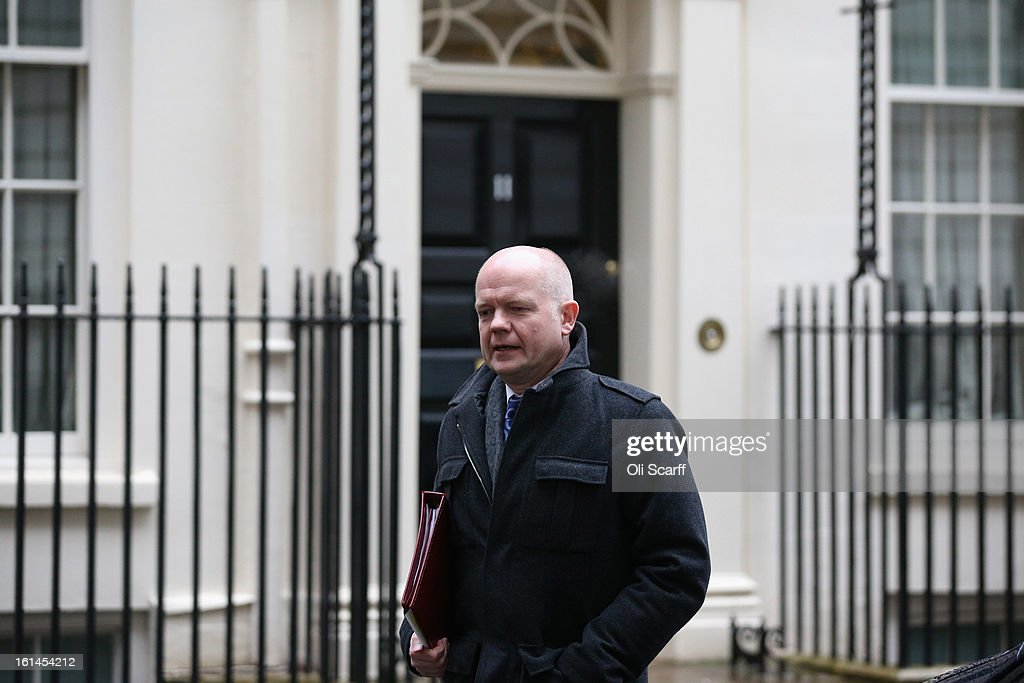 Foreign Secretary William Hague leaves Number 10 Downing Street on February 11, 2013 in London, England. Owen Paterson, the Secretary of State for Environment, Food and Rural Affairs, has warned that tests which are currently being carried out on processed beef products may indicate further presence of horse DNA.