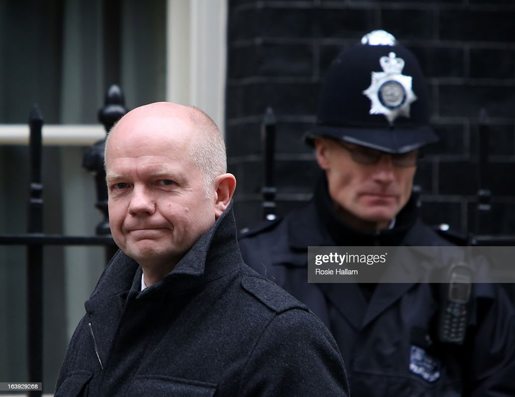Foreign Secretary <a gi-track='captionPersonalityLinkClicked' href=/galleries/search?phrase=William+Hague&family=editorial&specificpeople=206295 ng-click='$event.stopPropagation()'>William Hague</a> visits Downing Street on March 18, 2013 in London, England. A Press regulation deal has been agreed today by Conservatives, Labour and Lib Dems following a call for reform in the wake of Lord Justice Leveson's inquiry into press ethics and phone hacking.