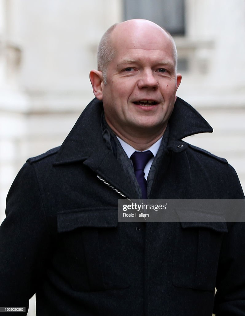 Foreign Secretary William Hague visits Downing Street on March 18, 2013 in London, England. A Press regulation deal has been agreed today by Conservatives, Labour and Lib Dems following a call for reform in the wake of Lord Justice Leveson's inquiry into press ethics and phone hacking.