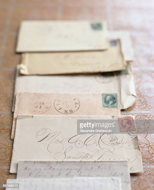 Foreign stamps on old envelopes