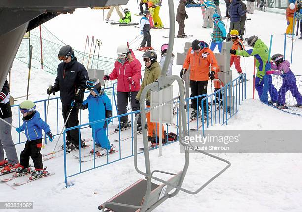 Foreign tourists enjoy skiing on February 18 2015 in Niseko Hokkaido Japan Throngs of Chinese tourists celebrating the Chinese New Year have...