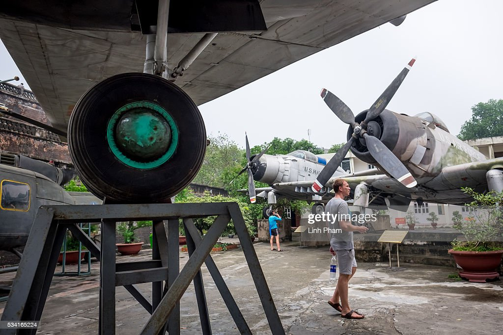 Foreign visitors watch the airplanes exhibition at Vietnam Military History Museum on May 25, 2016 in Hanoi, Vietnam. U.S. President Obama made his historic visit to Vietnam on May 23 with an aim to strengthen the strategic and economic relationship between both countries four decades after the Vietnam war. During the visit, Obama announced the U.S. will fully lift its embargo on weapons and raised issues related to human rights while speaking to the youths on freedom of expression.