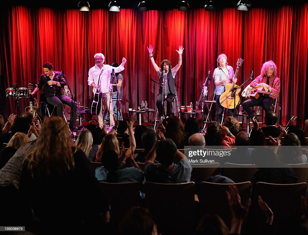 Foreigner members (L-R) Tom Gimbel, Mick Jones, Kelly Hansen, Jeff Pilson and Bruce Watson perform during Juke Box Heroes: An Evening With Foreigner at The GRAMMY Museum on October 30, 2012 in Los Angeles, California.