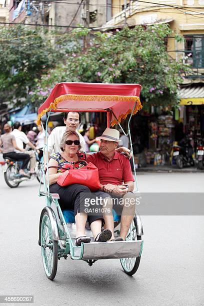 Foreigner tourists in rickshaw
