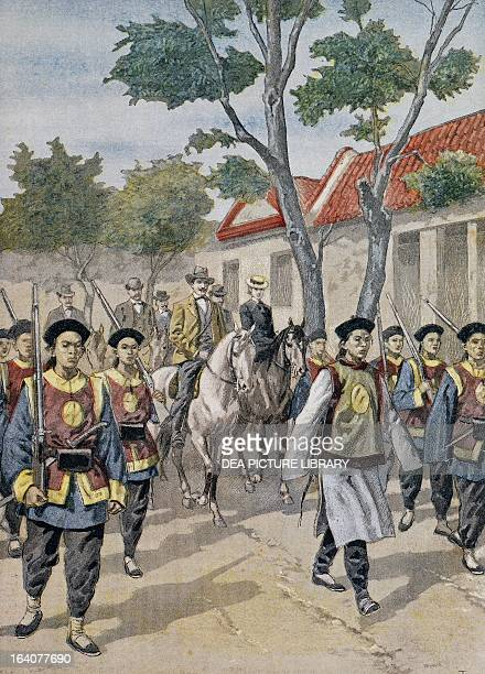 Foreigners being escorted by regular soldiers during the Boxer Rebellion in China illustration published in Le Petit Journal July 1900 Paris...
