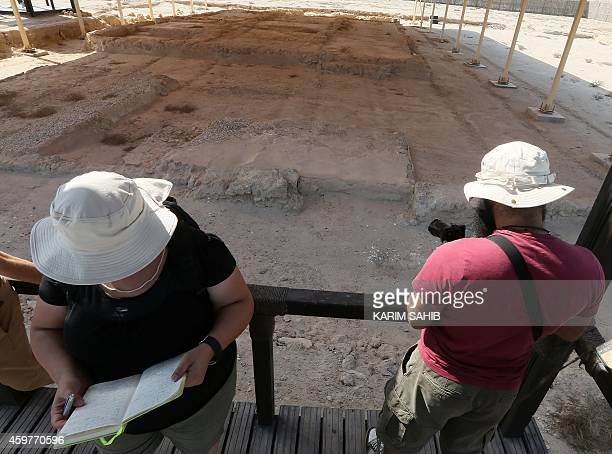 Foreigners take a look at the remains of a preIslamic monastery which dates back to the 7th century and located in Sir Bani Yas Island one of the...
