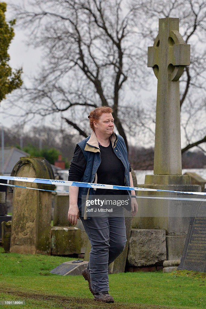 Forensic anthropologist Professor Sue Black of Dundee University arrives at Monkland Cemetery to start examining a burial plot on January 8, 2013 in Coatbridge, Scotland. Forensic specialist will exhume remains at a grave, in search of 11 year old school girl Moria Anderson who went missing, presumed murdered, in 1957.