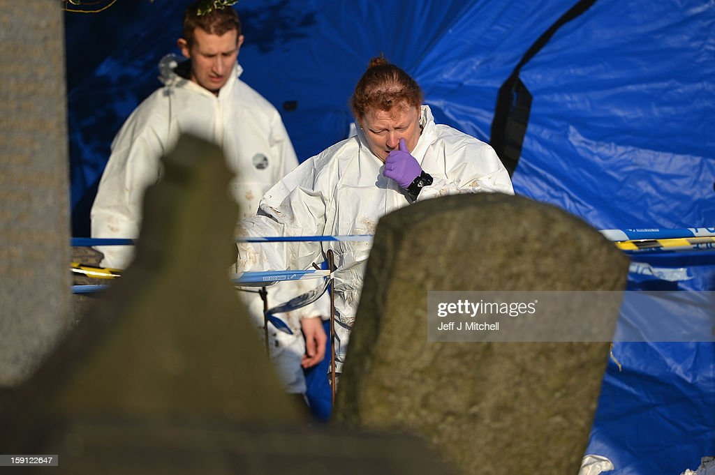 Forensic anthropologist Professor Sue Black of Dundee University at Monkland Cemetery where they are starting to examine a burial plot on January 8, 2013 in Coatbridge, Scotland. Forensic specialists will exhume remains at a grave, in search of 11 year old school girl Moira Anderson who went missing, presumed murdered in 1957.