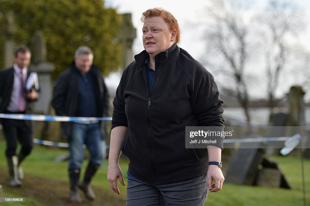 Forensic anthropologist Professor Sue Black, of Dundee University, at Monkland Cemetery as forensic officers continue to examine a burial plot on January 9, 2013 in Coatbridge, Scotland. Forensic specialists are exhuming remains at a gravesite in search of 11 year old school girl Moira Anderson, who went missing in 1957.