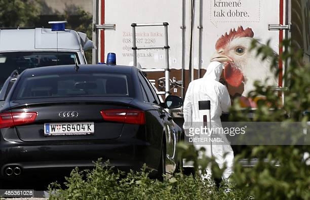 A forensic investigator is seen working on a refrigerated truck parked along a highway near Neusiedl am See Austria on August 27 2015 The bodies of...