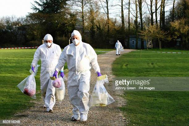 Forensic officers attend a crime scene at Templeton College in Kennington Oxfordshire after two incendiary devices were found at the Oxford...