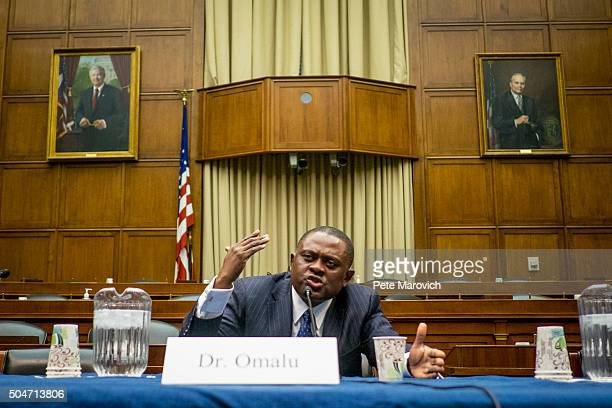 Forensic pathologist and neuropathologist Dr Bennet Omalu participates in a briefing sponsored by Rep Jackie Speier on Capitol Hill on January 12...