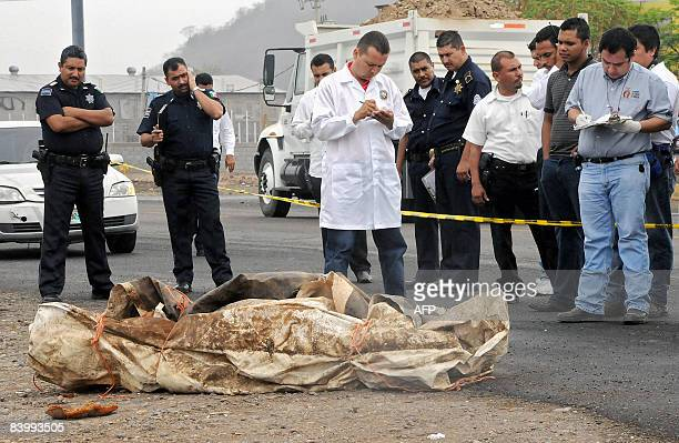 Forensic personnel take notes next to a corpse wrapped in a canvas in Culiacan Sinaloa state Mexico on June 11 2008 in a murder case related to drug...
