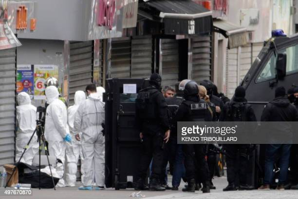 Forensics of the French police and members of the BRI a special unit of the French police are at work in the northern Paris suburb of SaintDenis city...