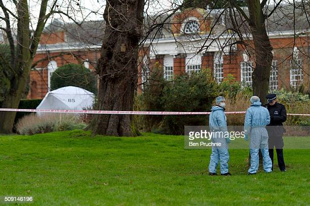Forensics officers arrive at Kensington Gardens after a sudden death was reported at Hyde Park on February 9 2016 in London England Police were...