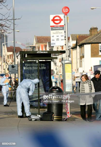 Forensics officers at the scene of a murder on London Road in west Croydon south London after a 26yearold man was fatally stabbed in Croydon south...