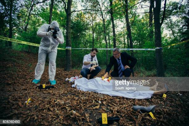 Forensics on murder crime scene