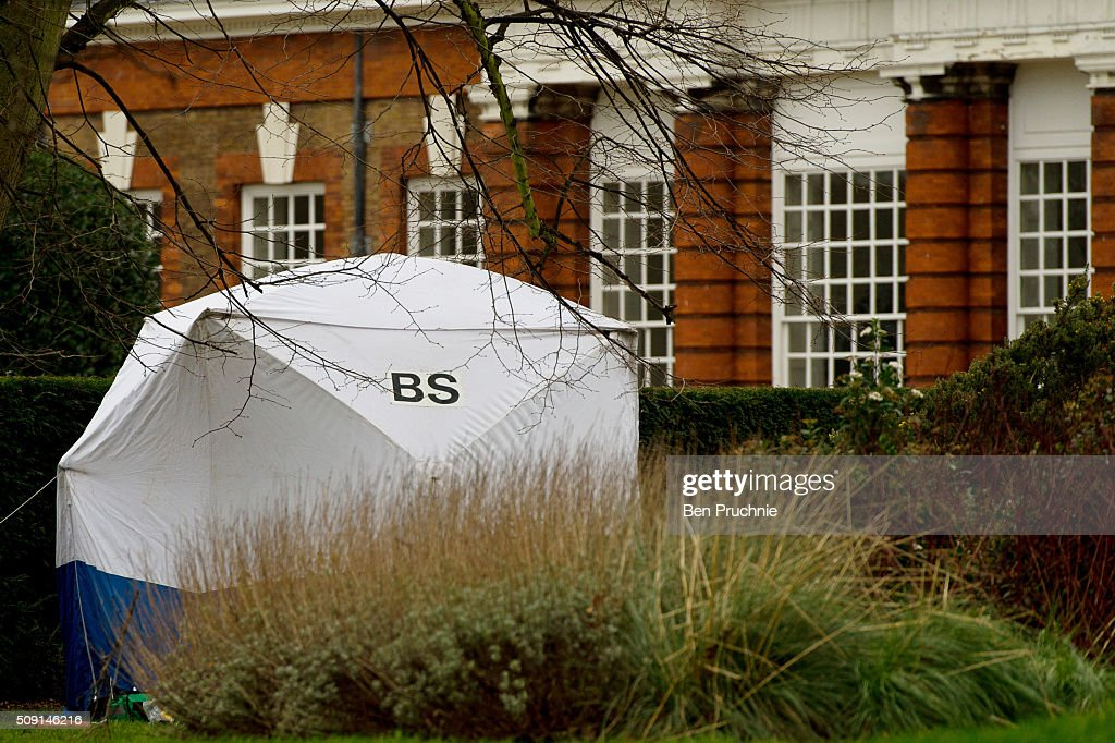 A forensics tent is built in Kensington Gardens after a sudden death was reported at Hyde Park on February 9, 2016 in London, England.