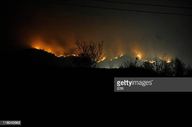 A forest blaze rages on in a remote mountainous region of Qinhuangdao northeast China's Hebei province on April 13 2011 The forest fire destroyed...