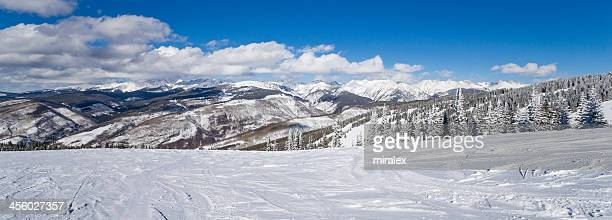 Forest Covered by Snow with Skiing Slopes and Rocky Mountains