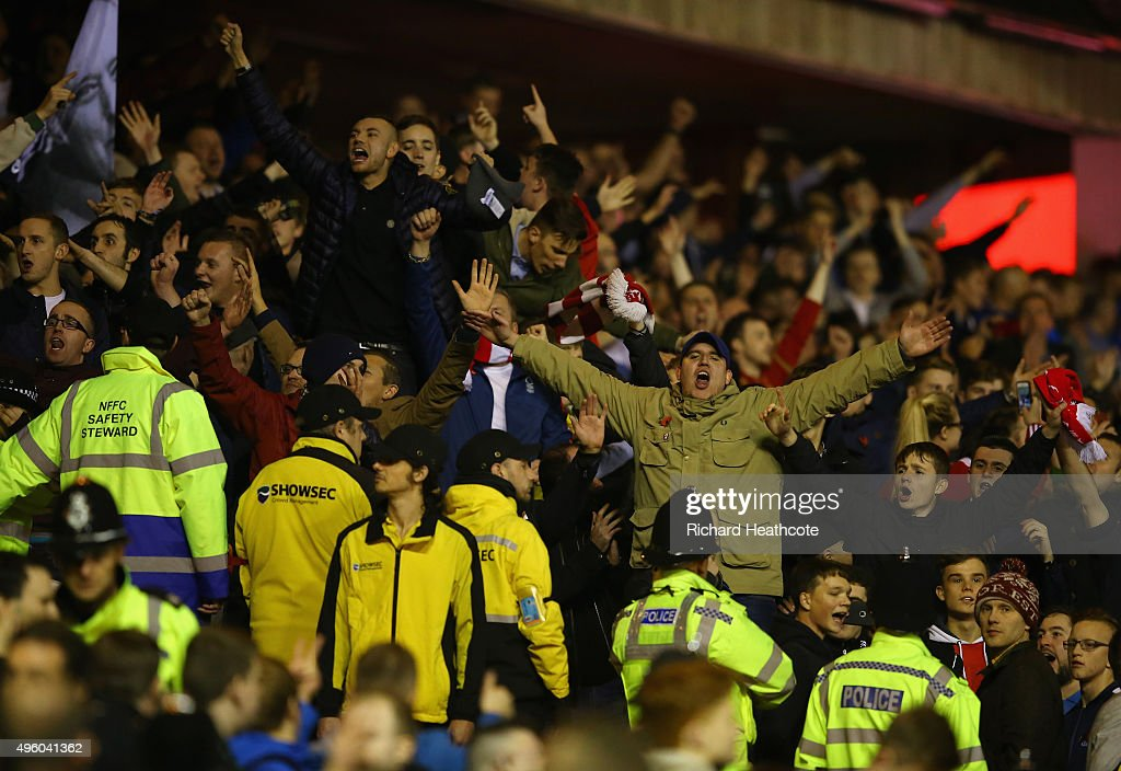 Forest fans celebrate victory at the final whistle during the Sky Bet Championship match between Nottingham Forest and Derby County at City Ground on November 6, 2015 in Nottingham, England.