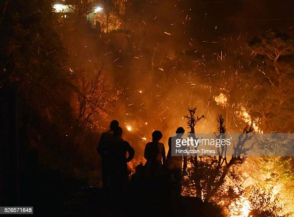 Forest fire at Pauri Garhwal District on April 30 2016 in Uttarakhand India Three National Disaster Response Force deployed three teams on Saturday...