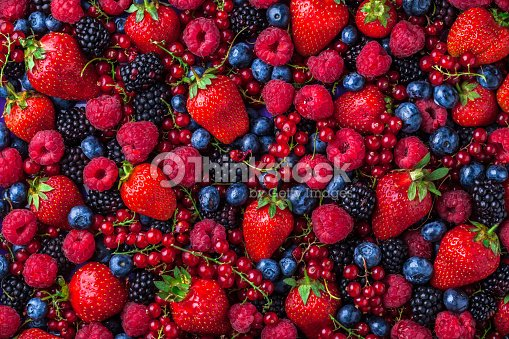 Forest fruit berries overhead assorted mix in studio : ストックフォト