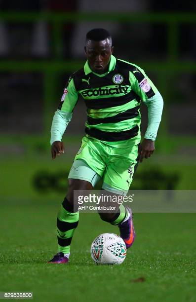 Forest Green Rovers' French footballer Drissa Traore controls the ball during the EFL Cup football match between Forest Green Rovers and MK Dons at...