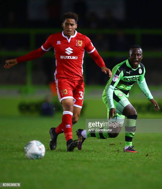 Forest Green Rovers' French footballer Drissa Traore in action during the EFL Cup football match between Forest Green Rovers and MK Dons at The New...