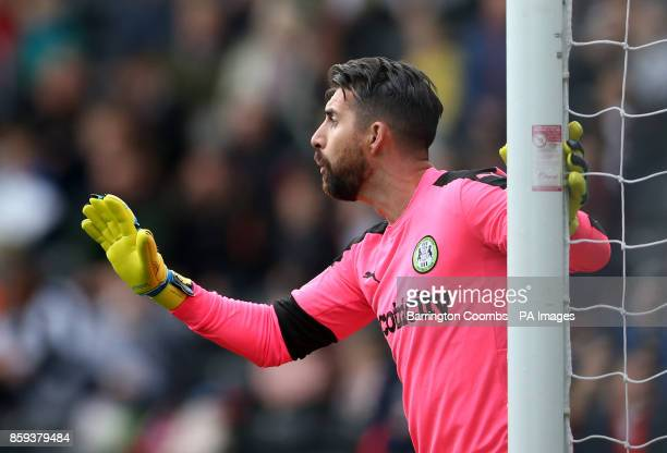 Forest Green Rovers goalkeeper Sam Russell during the match at Meadow Lane Nottingham