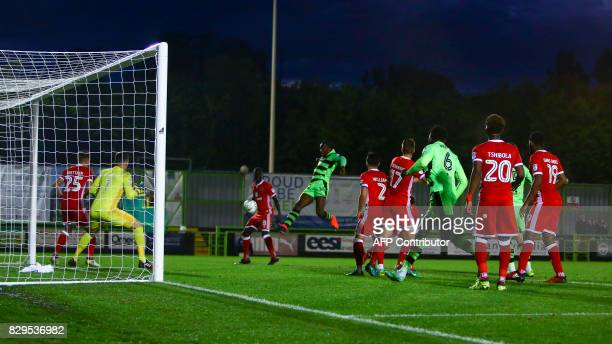 Forest Green Rovers' Shamir Mullings shoots on goal during the EFL Cup football match between Forest Green Rovers and MK Dons at The New Lawn stadium...