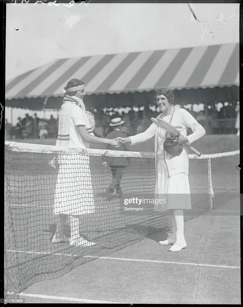 Dorothea Chambers Shaking Hands with Eleanor Goss at Tennis Net