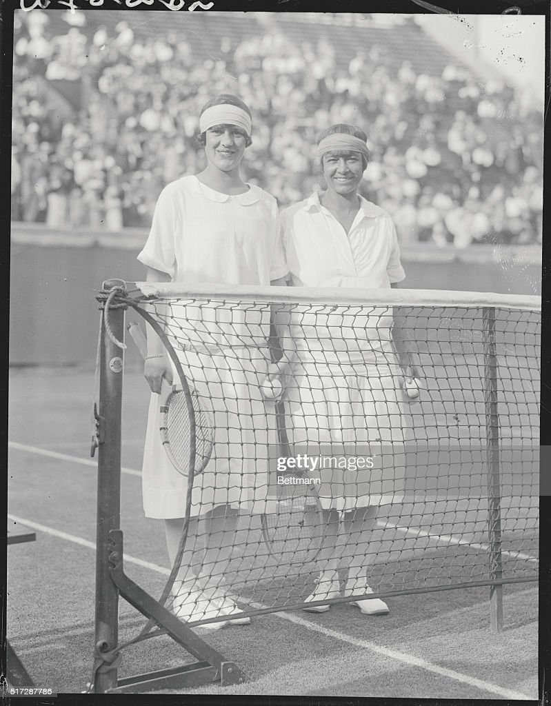 Tennis Players Molla Mallory and Joan Frey Posing by Net