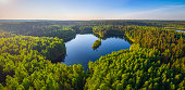 Aerial photo of heart-shaped lake in National park Narachanski (Belarus)