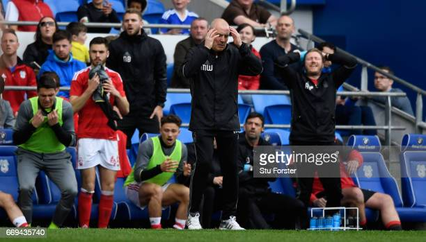 Forest manager Mark Warburton reacts after a change goes begging during the Sky Bet Championship match between Cardiff City and Nottingham Forest at...