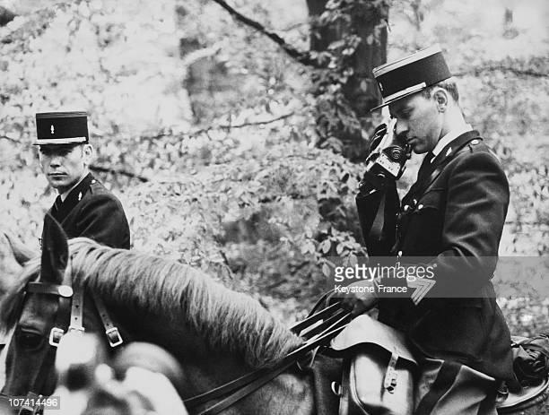Forest Of Saint Germain En Laye Gendarmes By Horse In Paris On April 1968