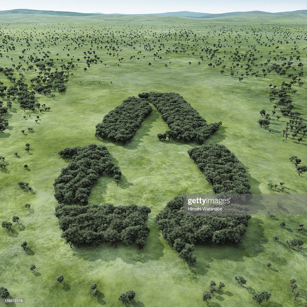 Forest shaped recycling symbol : Stock Photo