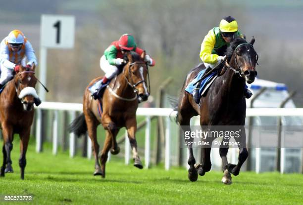 Forest Tune with jockey Willie Supple wins the Beast Fair Maiden Auction Race with Kieren Fallon on Tinian well back at Pontefract Races