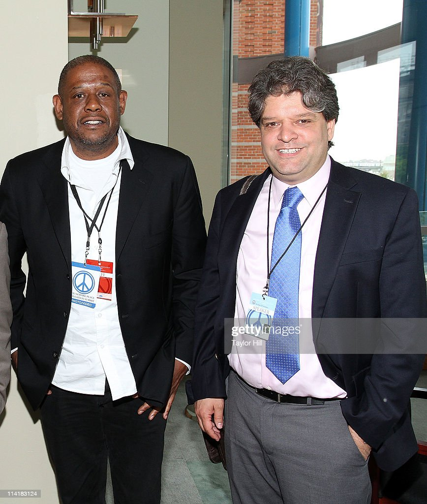 Forest Whitaker and Aldo Civico attend the Newark Peace Education Summit at New Jersey Performing Arts Center on May 14, 2011 in Newark, New Jersey.