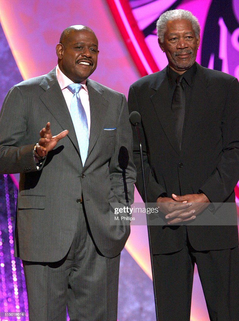 <a gi-track='captionPersonalityLinkClicked' href=/galleries/search?phrase=Forest+Whitaker&family=editorial&specificpeople=226590 ng-click='$event.stopPropagation()'>Forest Whitaker</a> and <a gi-track='captionPersonalityLinkClicked' href=/galleries/search?phrase=Morgan+Freeman&family=editorial&specificpeople=169833 ng-click='$event.stopPropagation()'>Morgan Freeman</a>, presenters during 5th Annual TV Land Awards - Show at Barker Hangar in Santa Monica, California, United States.